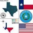 Vector set of Texas state with seal, coat of arms ...