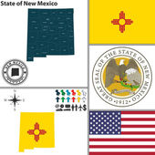 Map of state New Mexico USA