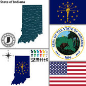 Map of state Indiana USA