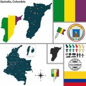 Vector map of region of Quindio with coat of arms and location on Colombian map