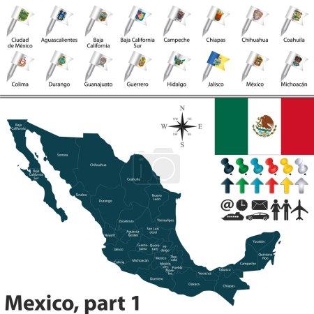 Illustration pour Carte vectorielle de Mexique avec les régions avec les drapeaux et emplacement sur la carte du monde . - image libre de droit