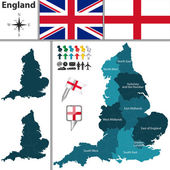 Map of England with regions