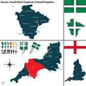 Vector map of Devon in South West England United Kingdom with regions and flags