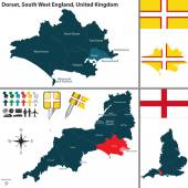 Vector map of Dorset in South West England United Kingdom with regions and flags