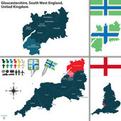 Vector map of Gloucestershire in South West England United Kingdom with regions and flags