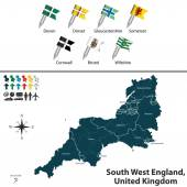 Vector map of South West England United Kingdom with regions and flags