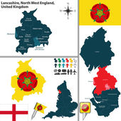 Vector map of Lancashire in North West England United Kingdom with regions and flags