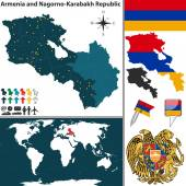 Vector map of Armenia Nagorno Karabakh Republic with regions coat of arms and location on world map