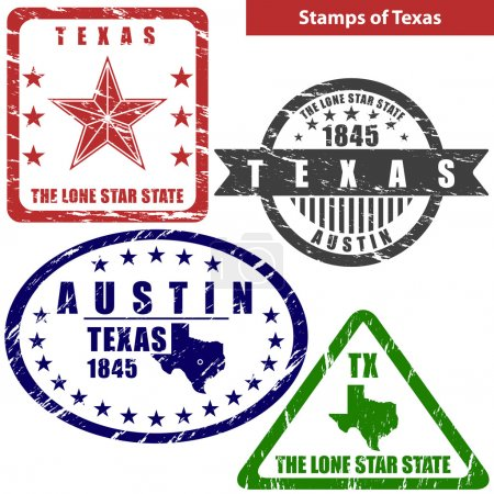 Vector stamps of Texas state in United States with...