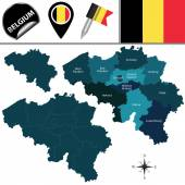 Vector map of Belgium with named provinces and travel icons