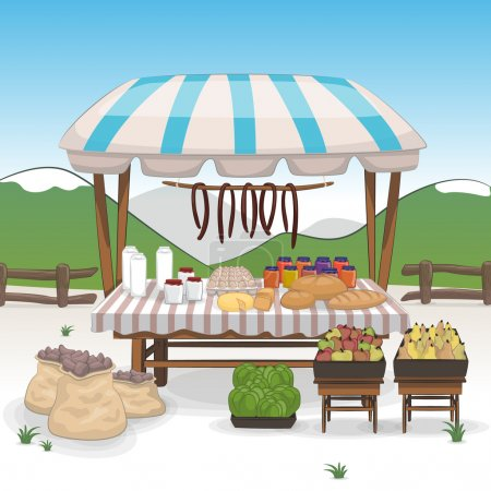 Market place with bio food and vegetables stands