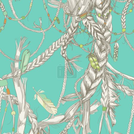 Seamless pattern with girlish braids, hair, wind and feathers.