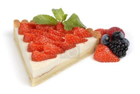 Strawberry cheesecake on white