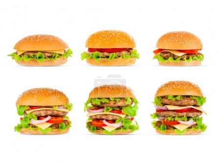 Photo for Big beautiful juicy burger with meat and vegetables. Isolated on white background - Royalty Free Image