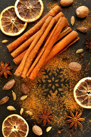 Spices for Christmas baking. Christmas food background
