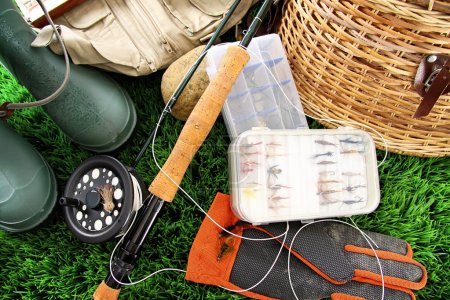 Fly fishing equipment ready to use