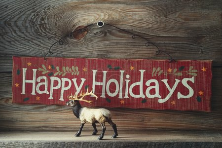 Festive wooden sign for the holidays
