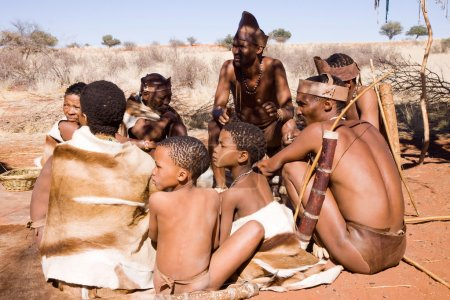 San people in native settlement