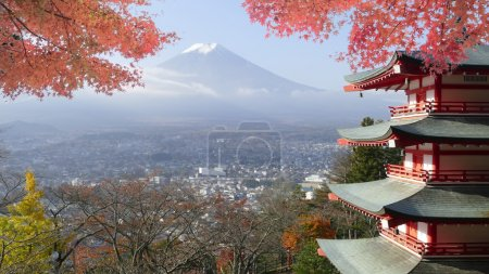 Image of Beautiful Mt. Fuji with fall colors in Japan