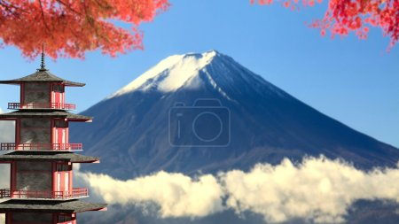 3d rendering Mt. Fuji with fall colors in Japan