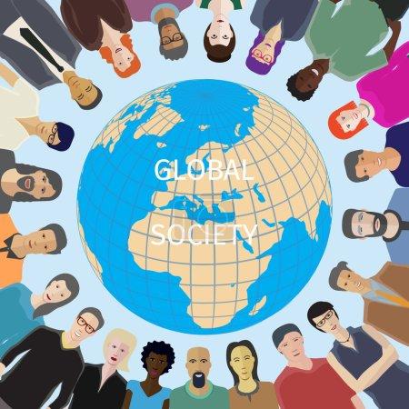 Illustration pour Grand groupe de personnes adulte occasionnel avec monde globe sur fond - image libre de droit