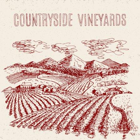 Illustration pour Paysage rural vectoriel dessiné à la main avec champs et fermes - image libre de droit