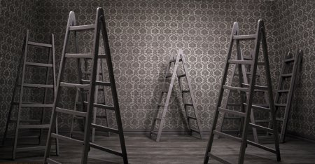 Photo for Old rusty interior with many shabby ladders - Royalty Free Image