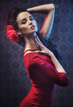 Photo for Portrait of a young, pretty flamenco dancer - Royalty Free Image