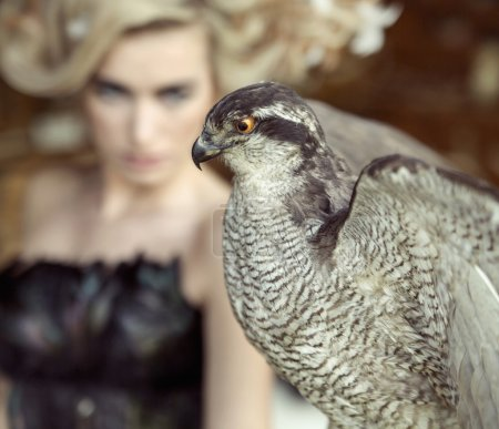 Blond lady with the falcon