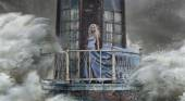 Conceptual photo of a woman standing on the lighthouse