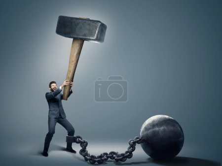 Conceptual photo of an employee trying to quit a job