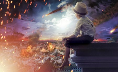 Photo for Little boy watching an end of the world - Royalty Free Image