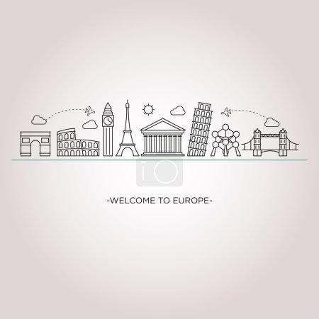 Illustration pour Europe silhouette détaillée skyline. Fond vectoriel. illustration de ligne. Style art linéaire - image libre de droit