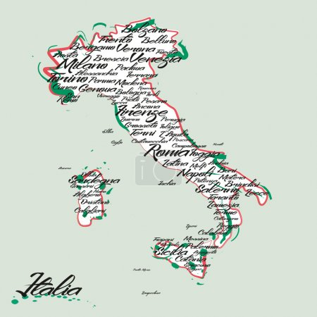 Italy vector map with city names