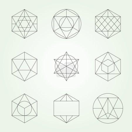Sacred geometry vector symbols and elements set