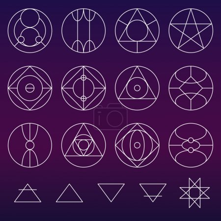 Illustration for Alchemy symbols collection vector set, thin line (variable line) - Royalty Free Image
