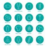 Allergen icons vector set. Food allergens symbols ...