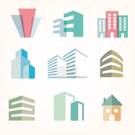 Photo for Vector city buildings silhouette icons - Royalty Free Image