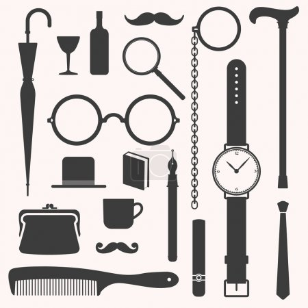 Gentlemens vintage stuff design elements set