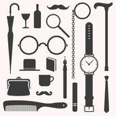 Gentlemens vintage stuff design elements set