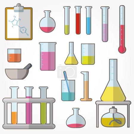 Illustration pour Tubes à essai chimiques icônes illustration vecteur - image libre de droit
