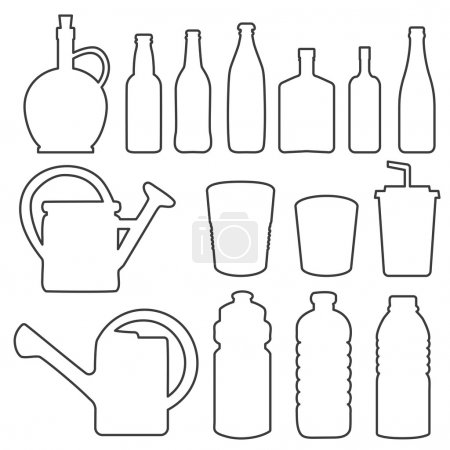 Bottle collection line vector silhouette
