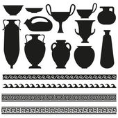 Ancient vase with greek geometric ornament for your designs