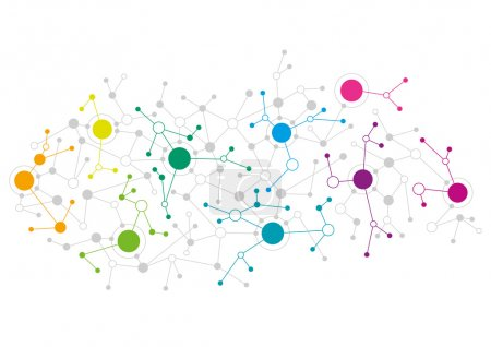Illustration for Abstract network design with colourful dots connecting to each other - Royalty Free Image