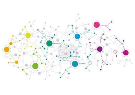 Illustration pour Conception de réseau abstraite avec des points colorés se connectant les uns aux autres - image libre de droit