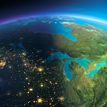 Photo for Highly detailed planet Earth. Night with glowing city lights gives way to day. The boundary of the night & day. The northern U.S. states and Canada. Elements of this image furnished by NASA - Royalty Free Image