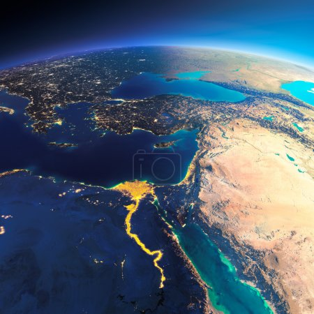 Photo pour Planète Terre très détaillée. La nuit aux lumières de la ville cède la place au jour. La frontière de la nuit et du jour. Afrique et Moyen-Orient. Éléments de cette image fournis par la NASA - image libre de droit