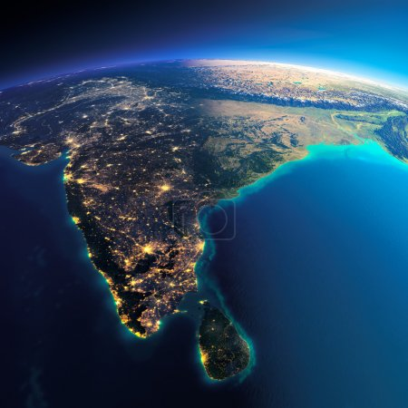 Photo for Highly detailed planet Earth. Night with glowing city lights gives way to day. The boundary of the night & day.  India and Sri Lanka. Elements of this image furnished by NASA - Royalty Free Image