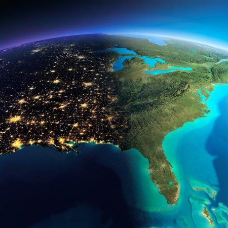 Photo pour Planète Terre très détaillée. La nuit aux lumières de la ville cède la place au jour. La frontière de la nuit et du jour. Amérique du Nord. États-Unis. Golfe du Mexique et Floride. Éléments de cette image fournis par la NASA - image libre de droit