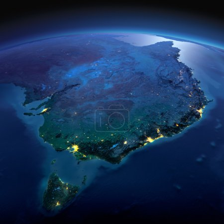 Detailed Earth. Australia and Tasmania on a moonlit night